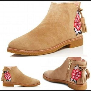 Kate Spade desert embroidered suede boots